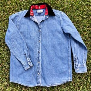 Denim / Chambray Button Up w/ Red Plaid Collar